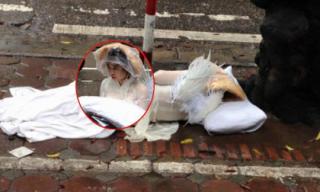 'Thiên thần gãy cánh' nằm dưới trời mưa khiến cộng đồng mạng xôn xao