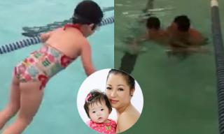 Clip con gái Thúy Nga trổ tài tập bơi cực đáng yêu