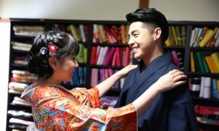Noo Phước Thịnh được cô gái Nhật mặc giúp kimono
