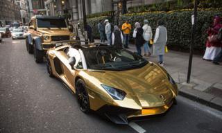 Loạt siêu xe mạ vàng 'bay' theo tỷ phú Ả Rập sang Anh nghỉ dưỡng