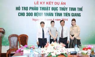 Hoa hậu Bùi Thị Hà đồng hành mổ mắt cho 300 bệnh nhân nghèo