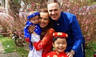 Vợ chồng Lý Thanh Thảo hạnh phúc đưa hai con đi du xuân