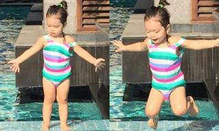Con gái Đoan Trang diện áo tắm '7 màu' đi bơi cùng mẹ