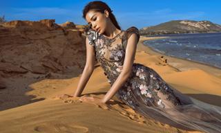 Kỳ Duyên diện váy xuyên thấu 'phơi mình' giữa đồi cát
