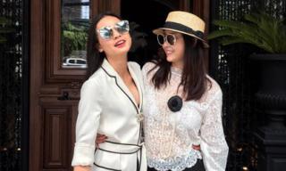 Hoa hậu Hà Kiều Anh vui vẻ đi 'hẹn hò' với bạn gái Bằng Kiều