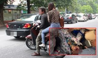 Sợ bẩn yên xe SH, chồng đạp vợ xuống đường ném cho tờ 100 ngàn bảo bắt xe ôm về rồi phóng đi