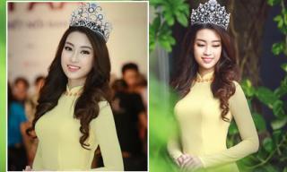 Hoa hậu Đỗ Mỹ Linh thu hút trong áo dài vàng
