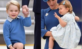 Hoàng tử nhí nước Anh cùng em gái nổi bật khi cùng bố mẹ công du Canada