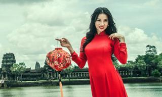 Bebe Phạm duyên dáng khi diện áo dài đỏ ở Campuchia