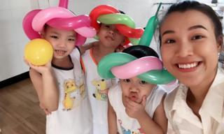 Á hậu Hoàng Oanh hạnh phúc vì mang đến niềm vui cho trẻ em kém may mắn
