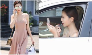 'Nữ hoàng sắc đẹp toàn cầu' Ngọc Duyên tự lái xe tiền tỷ đi ghi hình