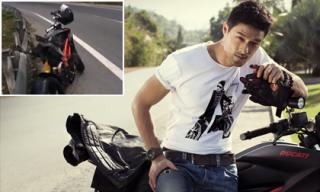 Johnny Trí Nguyễn gặp tai nạn khi đi tour khiến xe Ducatti 'biến dạng'