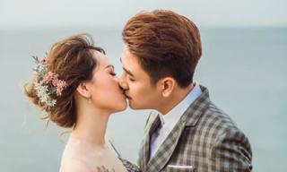 Ca sĩ Huy Nam ngọt ngào khóa môi bà xã trong bộ ảnh cưới tuyệt đẹp