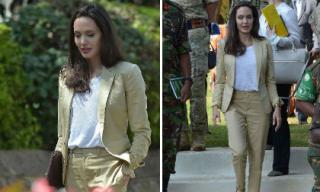 Mặc đồ be đơn giản và tinh tế như Angelina Jolie