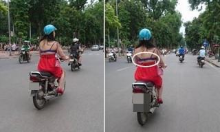 Cô gái mặc hở hết nội y vẫn vô tư đi xe trên đường Hà Nội