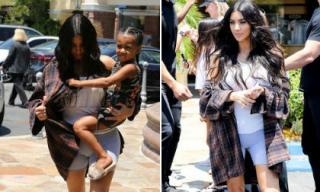 Kim Kardashian lại 'gây sốc' khi diện quần bó sát ra phố