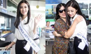 Đỗ Mỹ Linh diện trang phục đơn giản, bịn rịn chia tay mẹ chính thức lên đường thi Miss World