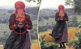 Bức tranh cô gái cầm smartphone năm 1860: Tiên đoán được tương lai?