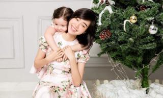 Elly Trần và con gái diện váy đôi, rạng rỡ bên cây thông Noel