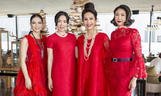 Loạt mỹ nhân Việt diện váy đỏ đến dự sinh nhật của diễn viên Diễm My