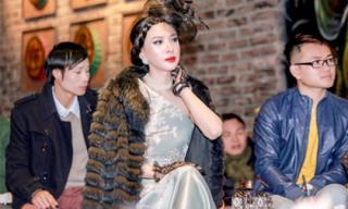 Á hậu Ngọc Quỳnh diện áo choàng lông dài với phong cách quý phái