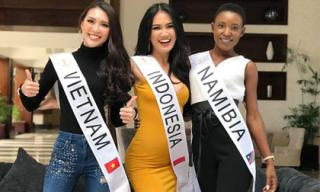 Tường Linh nhanh chóng hòa nhập với các thí sinh tại Hoa hậu Liên Lục Địa 2017