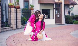 Thúy Nga và con gái Nguyệt Cát đẹp 'mê li' trong bộ ảnh áo dài đón xuân