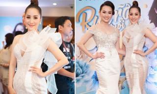 Mang bầu hơn 3 tháng, Khánh Thi vẫn tự tin mặc váy bó sát đi dự sinh nhật chị họ
