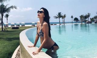 Siêu mẫu Hà Anh tự tin diện bikini dù bụng bầu vượt mặt