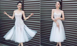 Hoa hậu Hương Giang khoe vẻ đẹp mong manh khi diện đầm trắng