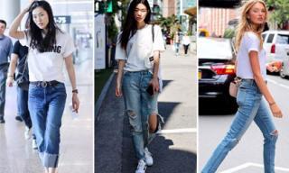Lên đồ ra phố ngày hè 'đẹp quên lối về' với quần jeans và áo thun