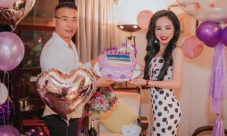 Hoa hậu Hạ My âm thầm tổ chức sinh nhật cho ông xã trong không gian ngọt ngào như cổ tích
