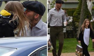 Bất chấp chỉ trích, David Beckham vẫn vô tư hôn môi con gái Harper ở chốn công cộng
