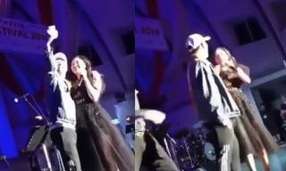 Phản ứng bất ngờ của Văn Mai Hương khi bị fan nam cưỡng hôn trên sân khấu