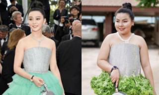 Phản ứng của Phạm Băng Băng và Lý Thần khi bắt gặp cô gái Thái Lan dùng đồ ăn cosplay váy hàng hiệu