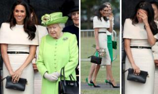Lên đồ thanh lịch tham dự sự kiện cùng Nữ hoàng, Công nương Meghan Markle gặp sự cố với gió