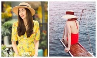 Kể từ khi lấy chồng sinh con, Hà Tăng mới chịu diện áo tắm khoe thân hình từ phía sau khiến dân mạng xôn xao