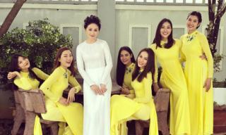 Đội hình bê tráp toàn mỹ nhân Việt xinh đẹp, nổi tiếng trong đám hỏi của Top 6 Hoa khôi áo dài 2014