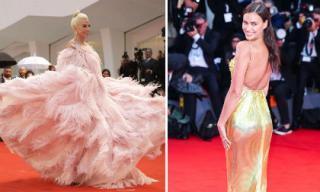 Bất chấp trời mưa Lady Gaga chơi trội với đầm lông vũ siêu khủng, Irina Shayk khoe lưng trần trên thảm đỏ LHP Venice