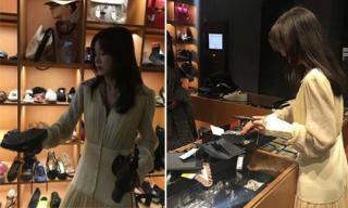 'Phú Sát Hoàng hậu' Tần Lam lộ ảnh đi mua sắm đồ giảm giá ở trời Tây