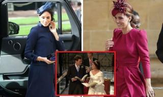 Công nương Kate Middleton và Meghan Markle mặc đồ đối lập trong đám cưới Công chúa Eugenie