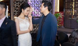Dương Thuỳ Linh diện váy dạ hội bó sát được MC Phan Anh vuốt tóc khen xinh