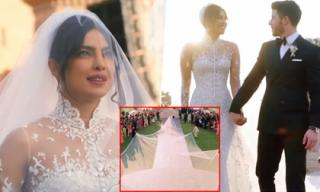 Hoa hậu thế giới Priyanka diện váy cưới khổng lồ trong đám cưới thế kỷ
