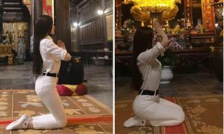Thư Dung bị 'ném đá' vì tạo dáng phản cảm khi đi chùa sau nghi án bán dâm nghìn USD