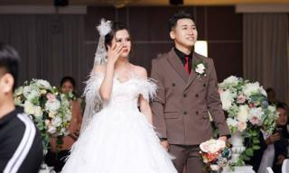Vợ Huy Cung mặc váy 200 triệu, bật khóc trong đám cưới hoành tráng