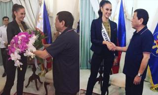 Vừa về nước, Hoa hậu Hoàn vũ 2018 được tổng thống Philippines đón chào
