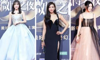 """Thảm đỏ """"Đêm hội weibo"""": Tần Lam, Xa Thi Man, Lâm Chí Linh đọ vòng một gợi cảm"""