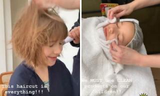 Harper đúng kiểu con nhà giàu: Không chỉ đi spa chăm sóc da mặt mà còn được stylist tạo mẫu tóc sành điệu