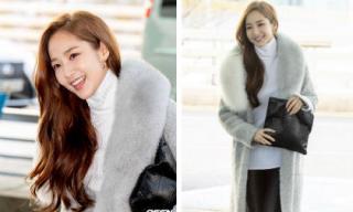 """Thời trang sân bay sang chảnh của """"thư ký Kim"""" Park Min Young: Áo khoác lông kết hợp quần da sành điệu"""