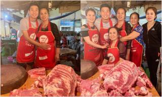 30 Tết, trung vệ Bùi Tiến Dũng ra chợ bán thịt lợn phụ mẹ